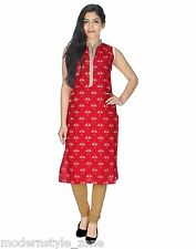 Yogalz Women Long Red Color Cotton Party Ladies Girls Daily Casual Wear Kurti