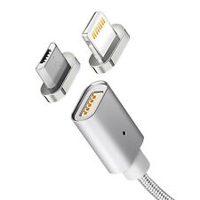 Magnetisches Daten & Ladekabel USB microUSB Lightning Stecker Android & iOS 1M