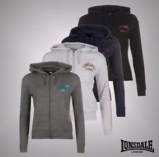New Ladies Branded Lonsdale Logo Lightweight Casual Full Zip Hoody Top Size 8-18