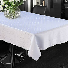 Polka Dot Jacquard Tablecloth Small Medium Large Rectangle Stain Resistant