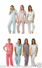 Ladies Short Sleeve Silky Satin PJs Pyjamas Pajamas Set Full Length Trousers