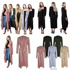 Womens Ladies Belted Midi Duster Jacket
