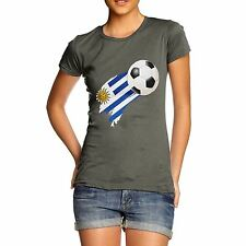 Twisted Envy Uruguay Football Flag Paint Splat Women's Funny T-Shirt