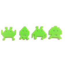 4 Pixel Space Invader Style Charms, Retro Gaming, Jewellery Making, Key Rings