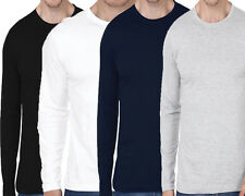 Mens Branded Plain Full Sleeves T-shirt | Round Neck Cotton - Combo Of 3