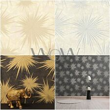 CROWN LUXE QUANTUM STAR WALLPAPER BLACK GOLD PEWTER SILVER CREAM FEATURE WALL