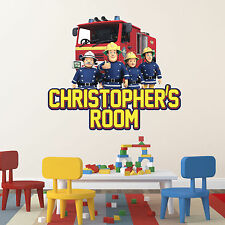 Personalised Fireman Sam Mural Wall Sticker Any Name Nursery Art Fire Engine Part 53