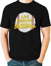Live Breath Baseball T Shirt Funny Sports Mens Sizes Small to 6XL and Tall