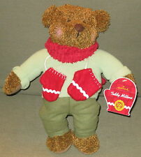 NWT HALLMARK TEDDY MITTENS Brown Blue Sweater Red Gloves Scarf Stuffed Bear Toy