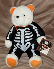 HALLMARK BRANDON BEAR Halloween Glow In The Dark Teddy Stuffed Toy Black White