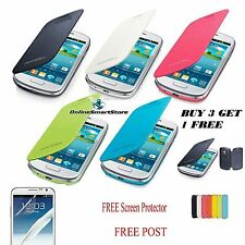 SAMSUNG GALAXY S3 I9300 & S3 MINI I8190 FLIP CASE COVER + FREE SCREEN PROTECTOR