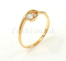 fashion1uk Anillo Solitario Transparente Diamante Sintético 18 CT Chapado En Oro