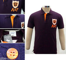New A F Abercrombie & Fitch Collar Polo T Shirt Cotton Wine Color Best Quality