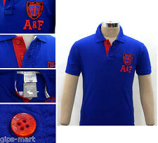 New A F Abercrombie & Fitch Collar Polo T Shirt Cotton  Blue Color Best Quality