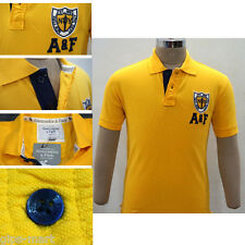 New A F Abercrombie & Fitch Collar Polo T Shirt Cotton Yellow Color Best Quality
