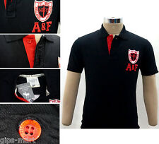New A F Abercrombie & Fitch Collar Polo T Shirt Cotton  Black Color Best Quality