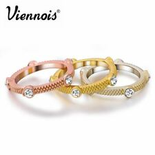 Viennois New Mixed-color Triple Stack Rings for Woman Rhinestone 3 Colors Finger
