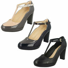 LADIES CLARKS LEATHER T BAR HIGH HEEL BUCKLE PLATFORM COURT SHOES KENDRA DAISY