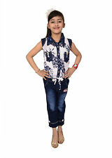 Arshia Fashions girls partywear Shirt and capri set - sleeveless - Net Denim