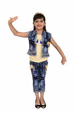 Arshia Fashions Girls Dress Top and Capri with Denim Jacket - Party wear