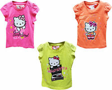 New Girls Hello Kitty T Shirt Neon Colours Top Summer T-shirt Age 2-8  Years