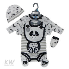 Baby Clothes 5 Piece Gift set Neutral boy girl layette  panda  NB - 6 months