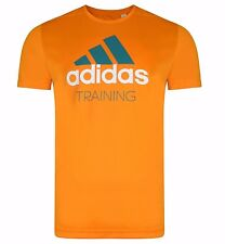 Mens New Adidas Training Running T-Shirt Top - Fitness Gym Gym - Orange