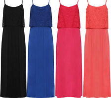 New Ladies Sleeveless Floral Lace Stretch Long Maxi Strappy Summer Casual  Dress