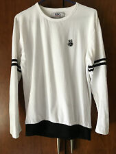 Mens Branded Full Sleeves White T-shirt With Stripes and Rib Round Neck Casual