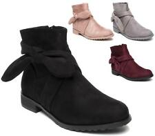 LADIES WOMENS FAUX SUEDE KNOTTED CHELSEA ZIP BLOCK LOW HEEL ANKLE BOOTS SIZE