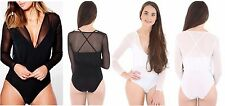 New Ladies Long Sleeve Plunge Mia Mesh V Neck Strappy 2 IN 1 Hot Summer Bodysuit