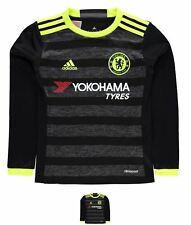 BRAND adidas Chelsea Long Sleeve Away Shirt 2016 2017 Junior Boys Black/Yellow