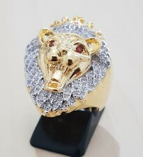 Turkish Handmade GOLD LION WITH RED EYES RING Hip Hop Bling Bling JEWELLERY