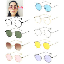 Fashion Men Women Hexagon Square Sunglasses Mirrored Metal Frame Clear Glasses