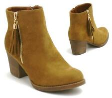 LADIES WOMENS MID HIGH BLOCK HEEL ZIP UP TASSEL CHELSEA ANKLE BOOTS SHOES SIZE