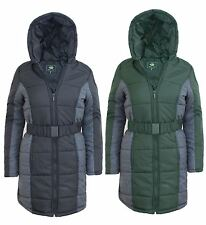 LADIES WOMENS FAUX FUR HOODED QUILTED PADDED PARKA PUFFER JACKET PUFFA COAT 8-16