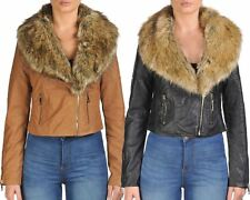 Ladies Womens Faux Fur Collar PU Leather Biker Jacket Short Length Coat Top 8-14