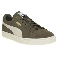 New Mens Puma Green Khaki Suede Classic Trainers Retro Lace Up