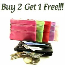 New Ladies Men Genuine Leather Small Coin Card Key Ring Wallet Pouch Purse clrCn