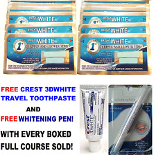 1 HOUR TEETH WHITENING STRIPS + CREST3D WHITENING TRAVEL TOOTHPASTE + WHITE PEN