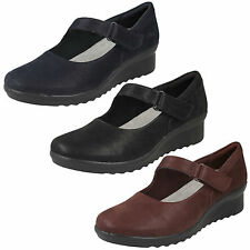 Donna cloudsteppers Clarks a strappo casual Mary Jane Scarpe con zeppa Caddell
