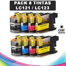 PACK 8 TINTAS LC-121 LC-123 COMPATIBLE NONOEM BROTHER CARTUCHO LC121 LC123