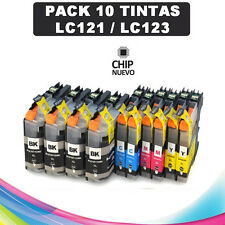 10 Cartuchos compatibles NonOem BROTHER LC121 LC123 XL DCP-J152W con chip
