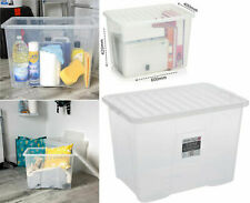 MULTI PACKS OFF 80 LITRE PLASTIC STORAGE BOX - CLEAR LID - NEW STRONG BOX