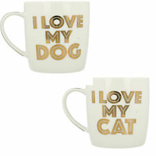 LESSER & PAVEY I LOVE MY CAT LP33654, I LOVE MY CANE LP33653 BIANCO E ORO MUG