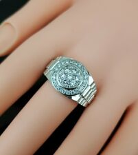 18K White Gold Plated  Iced Out CZ Hip Hop Bling Bling WEDDING  Ring Mens