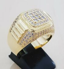 Top Qalıty 18K Gold Plated Hip Hop AAA CZ Micropave Men's Ring Pinky Bling Bling