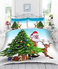 3D Photo Print Christmas Tree Santa Duvet Cover Bedding Set Single, Double, King