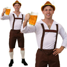 BROWN BAVARIAN BEER MAN LEDERHOSEN COSTUME OKTOBERFEST FANCY DRESS GERMAN OUTFIT