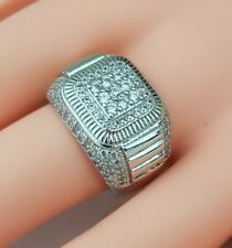 18K White Gold Plated AAA cz Iced Out Hip Hoo Bling Bling Mens Ring